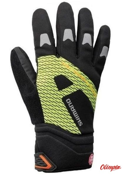 38e1ba2bfe1dd9 Rękawice rowerowe Shimano Windstopper Thermal black/neon yellow ...