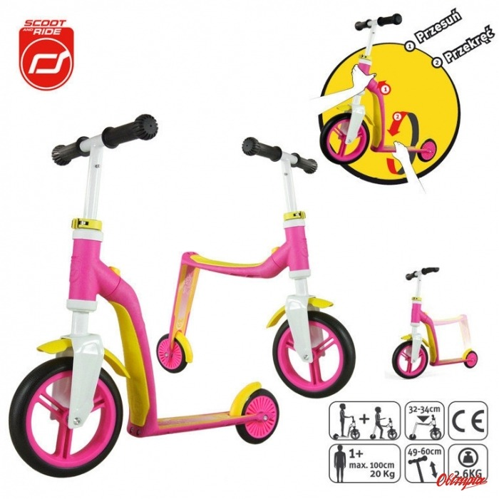 73515fea0180f3 Hulajnoga i Rowerek ScootAndRide Highwaybaby 2w1 1+ Pink - Child ...