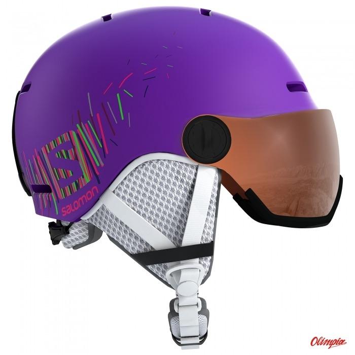 Kask narciarski dziecięcy Salomon Grom Visor Purple S2 2019